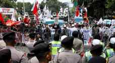 Thousands of Indonesians protesting against Myanmar in Jakarta