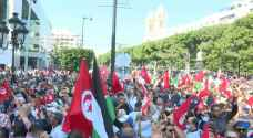 Thousands rally in support of Tunisian president