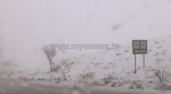 Watch snow covers Rashadiyyah, Tafilah