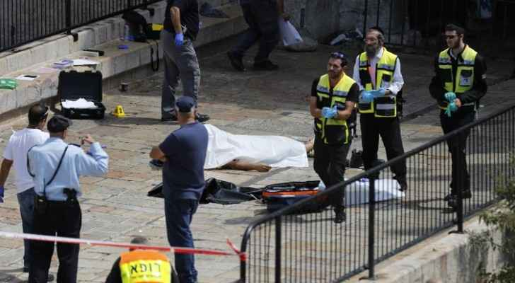 The body of the Jordanian citizen who was shot dead by an Israeli policeman in Jerusalem.