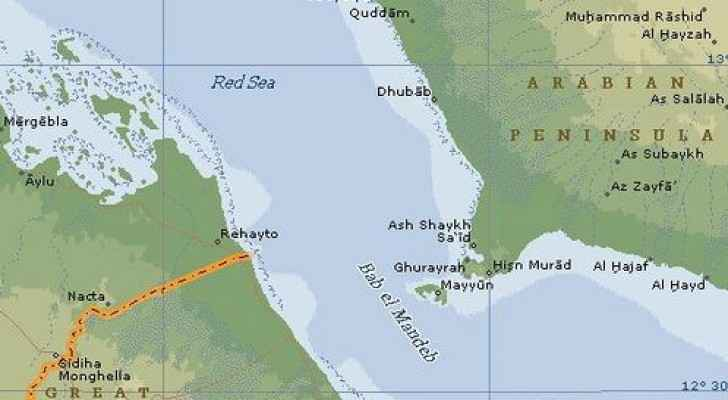 The Bab Al Mandab strait which links the Red Sea with the Indian Ocean and is vital to global trade. (File photo)