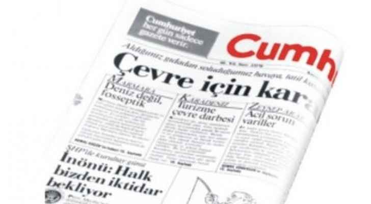Cumhuriyet has seen over a dozen of its staff members charged under the state of emergency imposed after the failed coup. (Photo from Twitter)