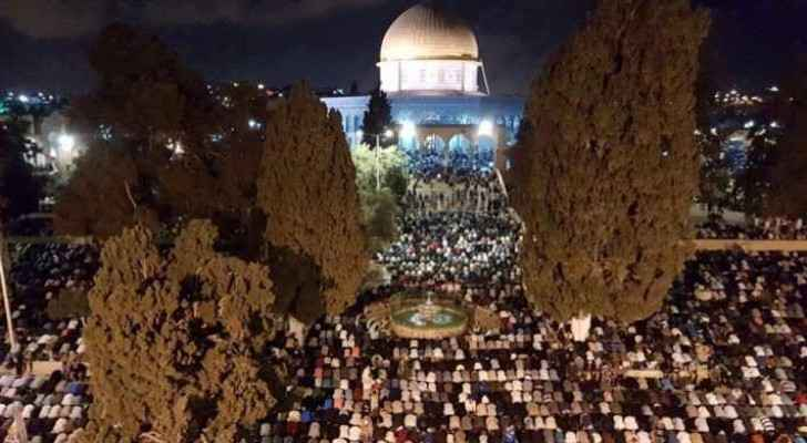 Some 300,000 worshippers from Palestine and abroad prayed overnight at the holy site.