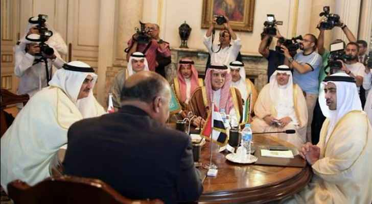 The foreign ministers of Bahrain, Egypt, Saudi Arabia and the United Arab Emirates meet in Cairo. (AFP/Khaled ELFIQI)