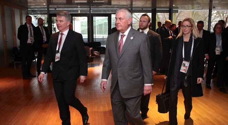 Secretary of State Rex Tillerson arrives for a meeting on Syria on the sidelines of the G-20 Foreign Ministers' Meeting in Bonn, Germany, on February