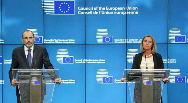 Foreign Minister Ayman Safadi and High Representative of the European Union for Foreign Affairs and Security Policy Federica Mogherini hold a joint pr