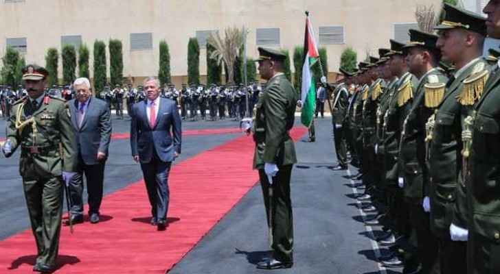 King Abdullah and Palestinian President Mahmoud Abbas during the King's visit to Ramallah.