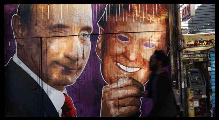 Graffiti art of Trump and Putin in New York