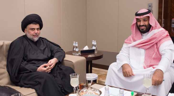 Saudi crown prince Mohammad bin Salman welcomed Iraqi Shia leader Muqtada al-Sadr in Jeddah on July 30. (Photo Credit: Reuters)