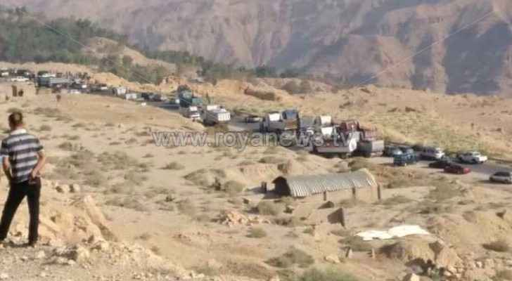 Part of the road closure in the western valleys of Karak