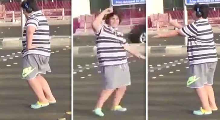 The brave boy dances to the Macarena in Jeddah.