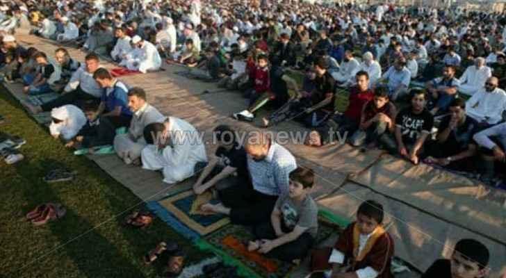 Muslims gathering for Eid al-Adha prayers last year
