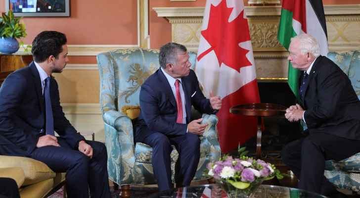 The King meeting Governor General David Johnston, accompanied by Crown Prince Hussein.