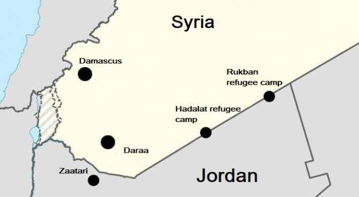 Map showing the location of refugee camps on the Syrian-Jordanian borders.