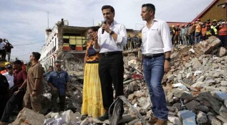 President Enrique Pena Nieto speaks in Juchitan on Friday. (Photo Credit: BBC)