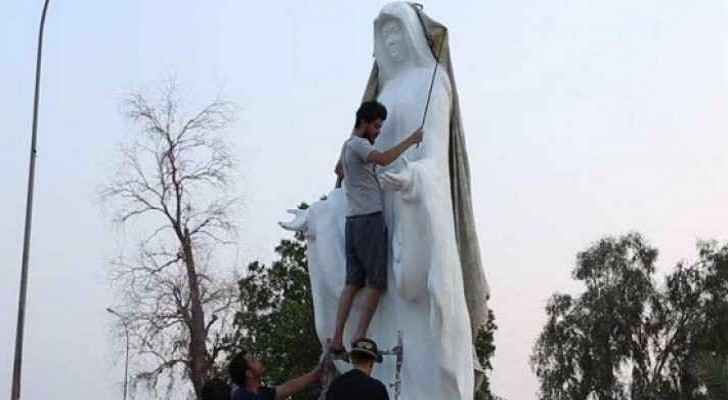 The statue was take away in the early hours of Tuesday morning.