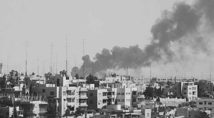 Smoke rises in Amman during clashes between the Jordanian army and fedayeen. (Photo Source: Jordanian archives)