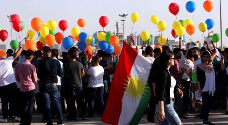 Kurdish people protesting outside of Erbil airport. (Photo Courtesy: Reuters)