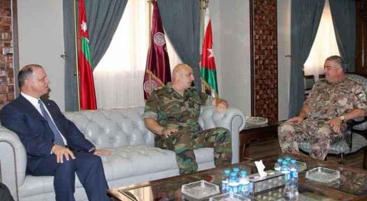 Prince Faisal, Aoun, and Freihat during the meeting.