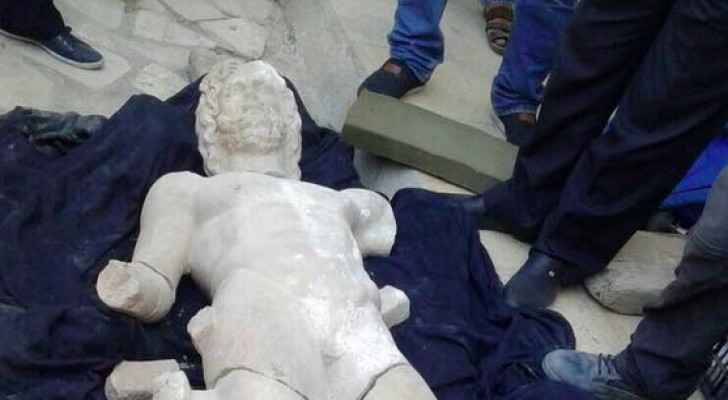 The statue of the Greek god Zeus, discovered in Jerash. (Facebook: Lina Annab)