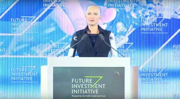 Sophia makes her speech at the Future Investment Initiative conference. (YouTube)