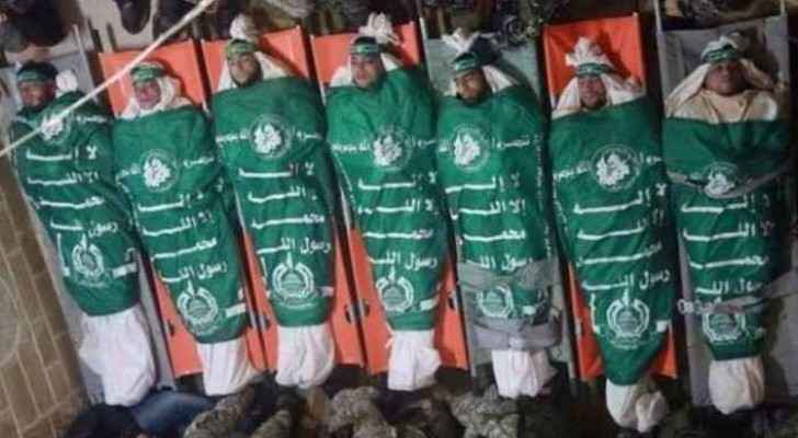 The bodies of fighters who died in last week's Israeli bombing of a resistence tunnel in south Gaza
