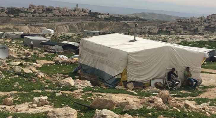 Jabal Al Baba inhabitants at risk of being evacuated from their homes. (The Palestinian Information Center)