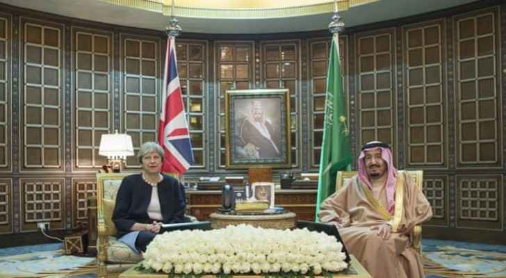 May is in the Middle East on a three-day tour (Bandar Algaloud/Saudi Kingdom Council/Handout)
