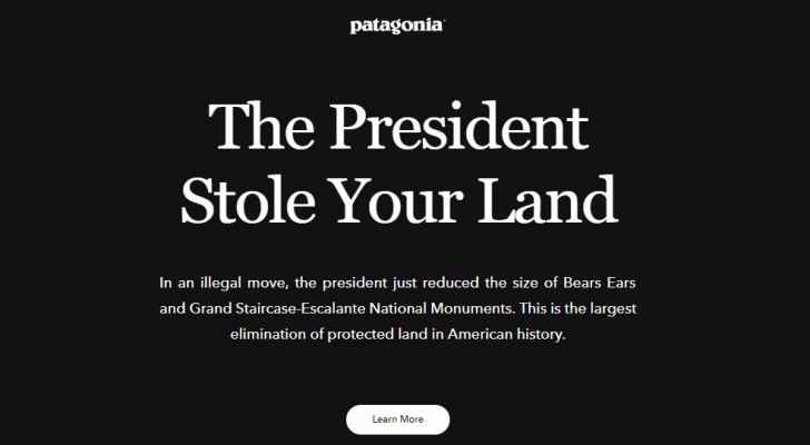 Patagonia's website homepage.