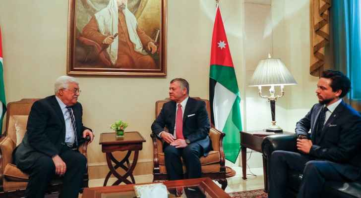 King Abdullah meets with President Abbas. (Petra)