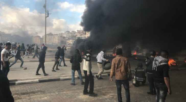 Clashes between Palestinians and Israeli forces in Ramallah, West Bank. (Twitter)