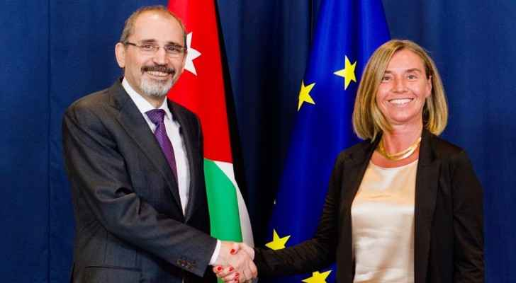 Press conference by Federica Mogherini and Ayman Safadi. (Youtube)