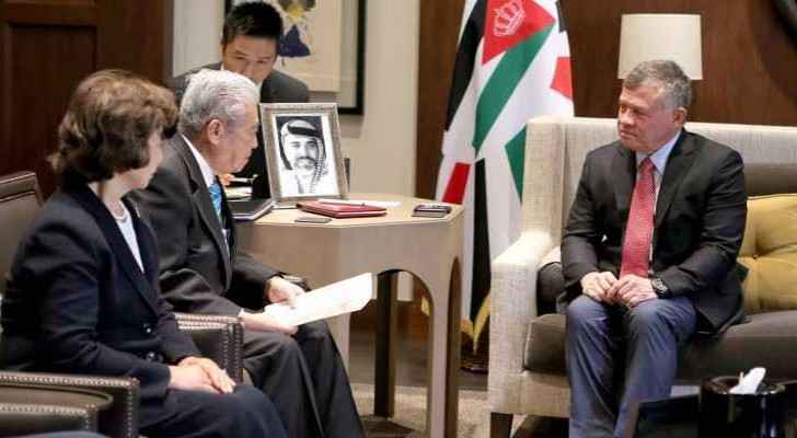 King Abdullah II with the Head of Japan's House of Councillors, Tchotchi Dati, on Monday. (Roya News Arabic)