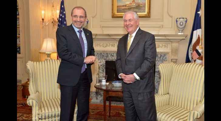 Safadi and Tillerson during a meeting in Washington in February 2017. (Google+)