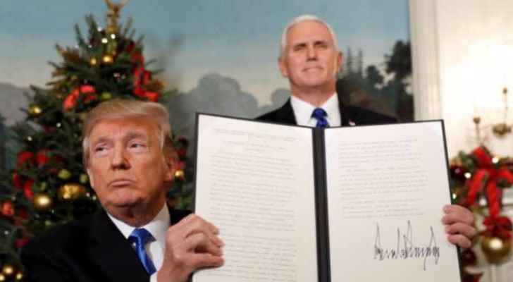 Trump signed a deicison to recognize Jerusalem as Israel's capital. (Roya Arabic)