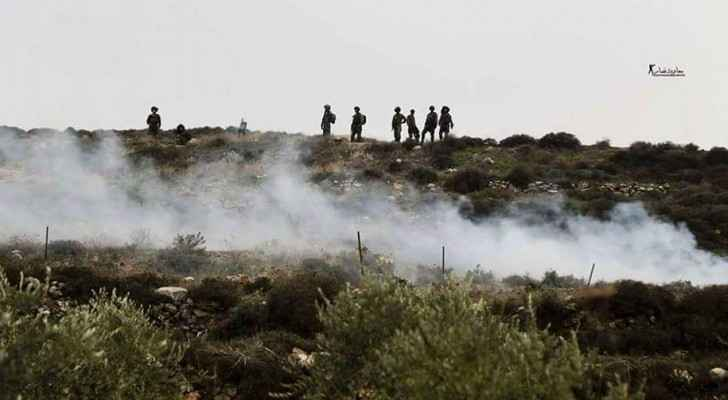 Clashes between Israeli forces and Palestinian protesters in the West Bank on Saturday. (PalInfoCenter)