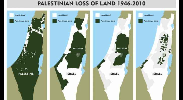 Map shows Palestinians loss of land since 1946-2010. (Wikimedia Common)