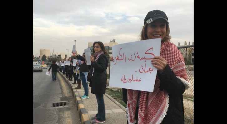 Latest human series in Amman to protest against the gas deal. (Amman's power button is under Liberman's control) (From Jordan BDS)