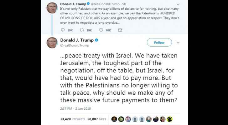 Trump tweets late Tuesday threatening Palestinians to cut aids.