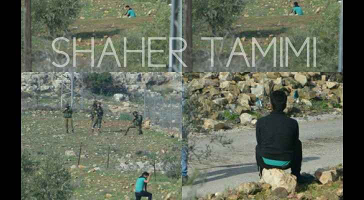 Musaab Tamimi moments before he was shot dead by Israeli forces. (Palestine Information Center)