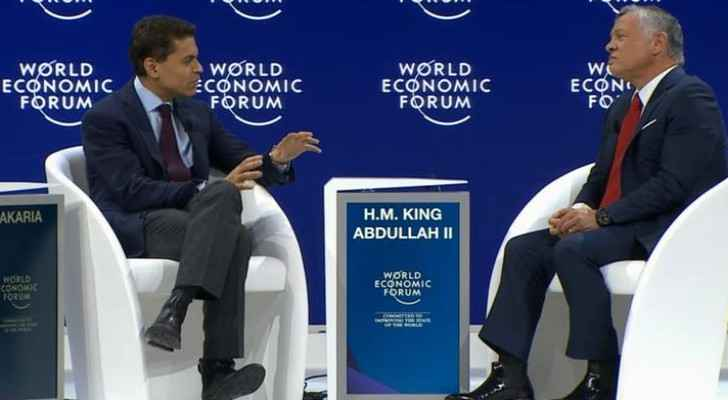 King Abdullah speaking with Fareed Zakaria at the World Economic Forum (CNN)