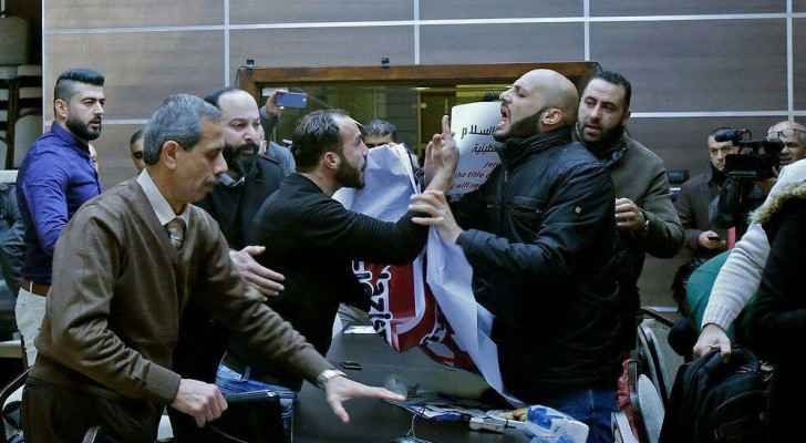 Activists broke out the hall and clashed with Palestinian officials.