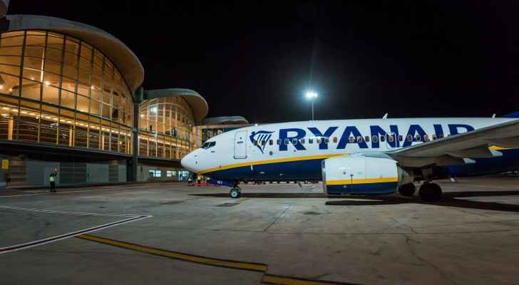 A Ryanair plane parked up at Queen Alia International Airport. (Facebook)