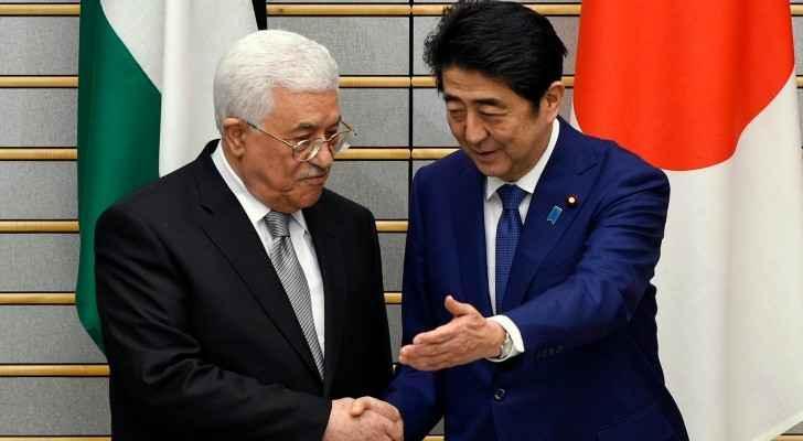 The Palestinian President, Mahmoud Abbas, with his Japanese counterpart, Shinzo Abe. (MintPressNews)