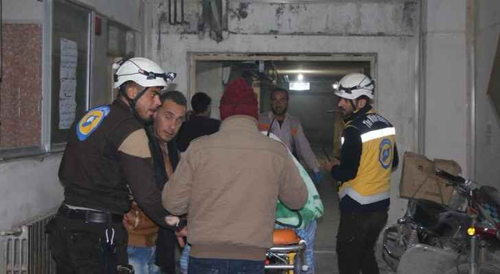 The White Helmets teams evacuating people in hospital in Maaret al Numan after Russian airplanes attacked it. (TheWhiteHelmetsTwitter)