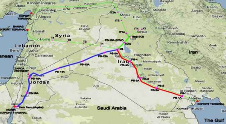 Map shows the project's path from Basra passing by Najaf in Iraq to Abaqa. (Fondsk)
