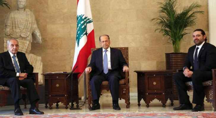 The three Lebanese leaders during their meeting in Beirut today. (Aliwaa)