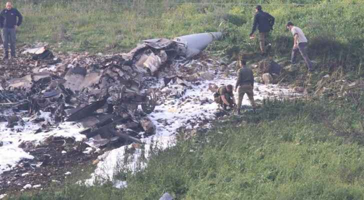 The Israeli F-16 jet wreckage after it was brought down by Syrian fire. (Facebook)
