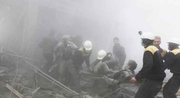 The White Helmets teams rescuing civilians following bombing targeted Arbin city in EasternGhouta. (Twitter: TheWhiteHelmets)