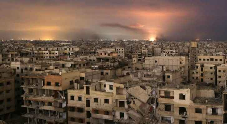 A smoke coming out from the Syrian enclave of Al-Ghuta  after being exploded